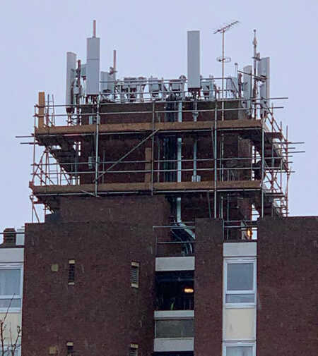 telecommunication scaffolding for mobile antenna repairs on high rise flats
